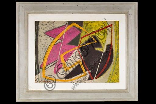 "Assicoop - Unipol Collection: Enrico Prampolini (1894, 1956), ""Abstract Composition"", Oil painting, cm 26 X 35."