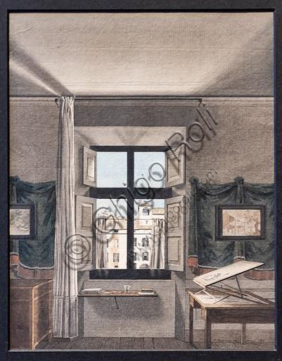"""Giovanni Battista De Gubernatis: """"Lo studio del pittore a Parma"""", 1812, acquerello e inchiostro di china acquarellato."""