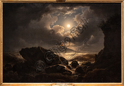 """Joseph Rebell: """"Gale in the Gulf of Naples at moonlight"""",1822, oil painting on canvas."""