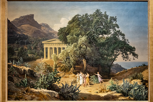 """Ferdinand Georg Waldmüller. """"A Doric Tmeple with Castelmola and Taormina in the background"""", Oil painting, 1849."""