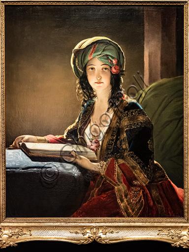 """Ippolito Caffi: """"Ritratto di donna orientale: Fatima di Smirne"""", olio su tela, 1843.Ippolito Caffi: """"Portrait of an oriental woman: Fatima of Izmir"""", oil painting, 1843."""