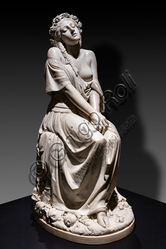 "Gaetano Motelli: ""The Bride of the Songo of Songs"", sculpture in marble, 1854."