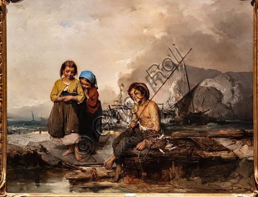 """Domenico Induno: """"Giovani pescatori"""", olio su tela, 1855."""
