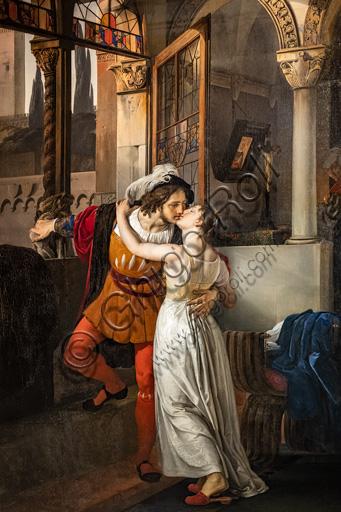 """TreFrancesco Hayez: """"L'ultimo bacio dato da Romeo a Giulietta"""", dipinto a olio, 1858."""