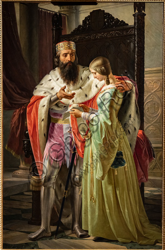 "Carlo Arienti: ""Amedeo VIII showing Princess Mary the letter sent by the Duke of Milano where he asks her hand"", oil painting, 1841."