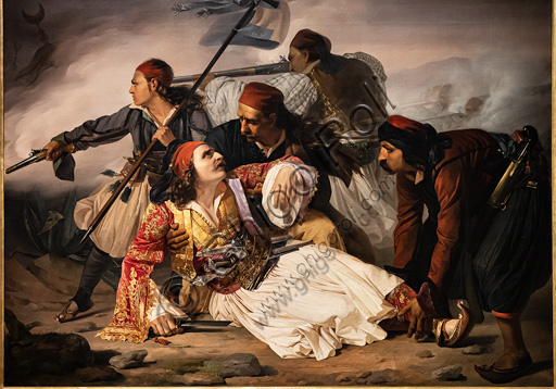 "Ludovico Lipparini:  ""Marco Botzaris' Death"";  oil painting, about 1841."