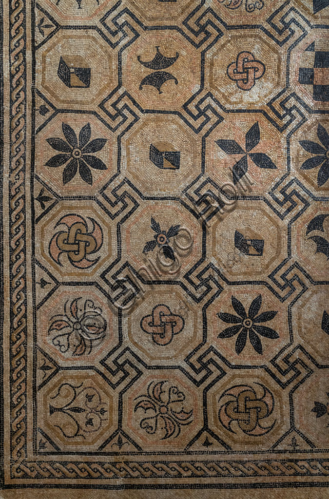"""Brescia, """"Santa Giulia, Museum of the City"""" (Unesco site since 2011): detail of the mosaic floor with a central figured panel, found in the excavations in San Rocchino Street."""
