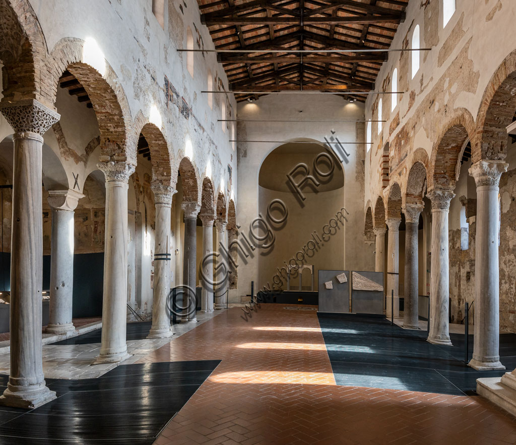 """Brescia, """"Santa Giulia, Museum of the City"""" (Unesco site since 2011): interior of the Chruch of San Salvatore."""