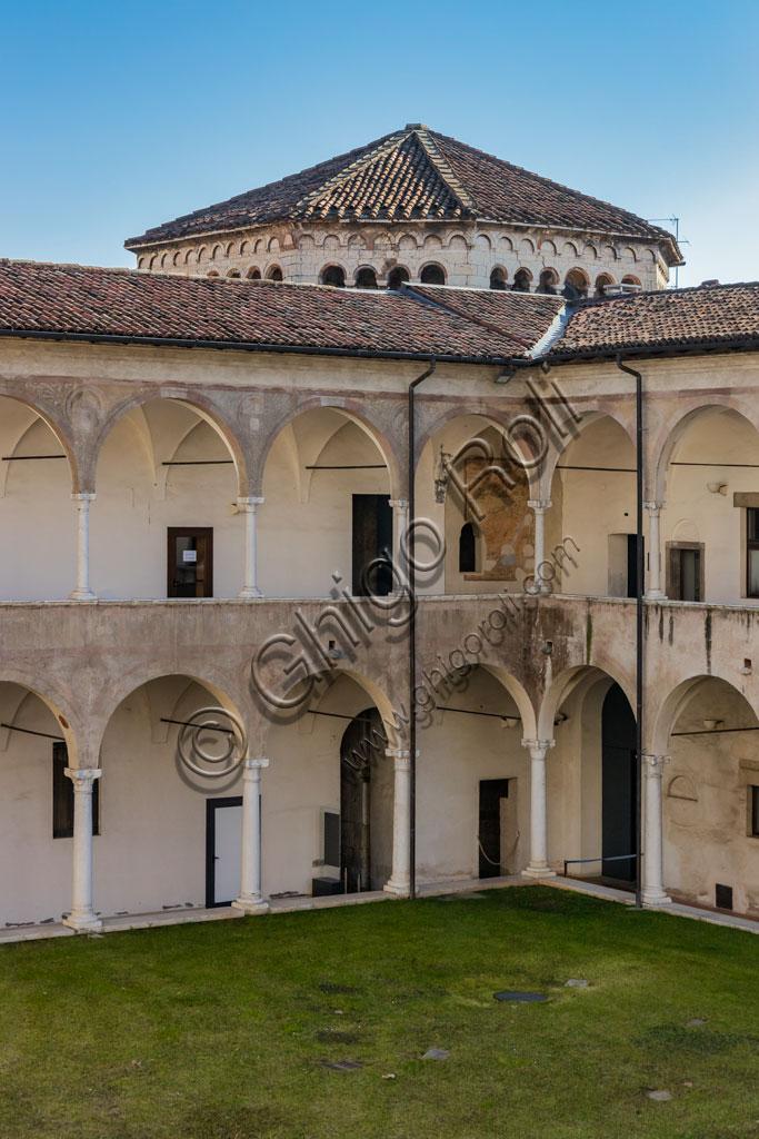 "Brescia, ""Santa Giulia, Museum of the City"" (Unesco site since 2011): cloister and tiburon of the Church of Santa Maria in Solario."