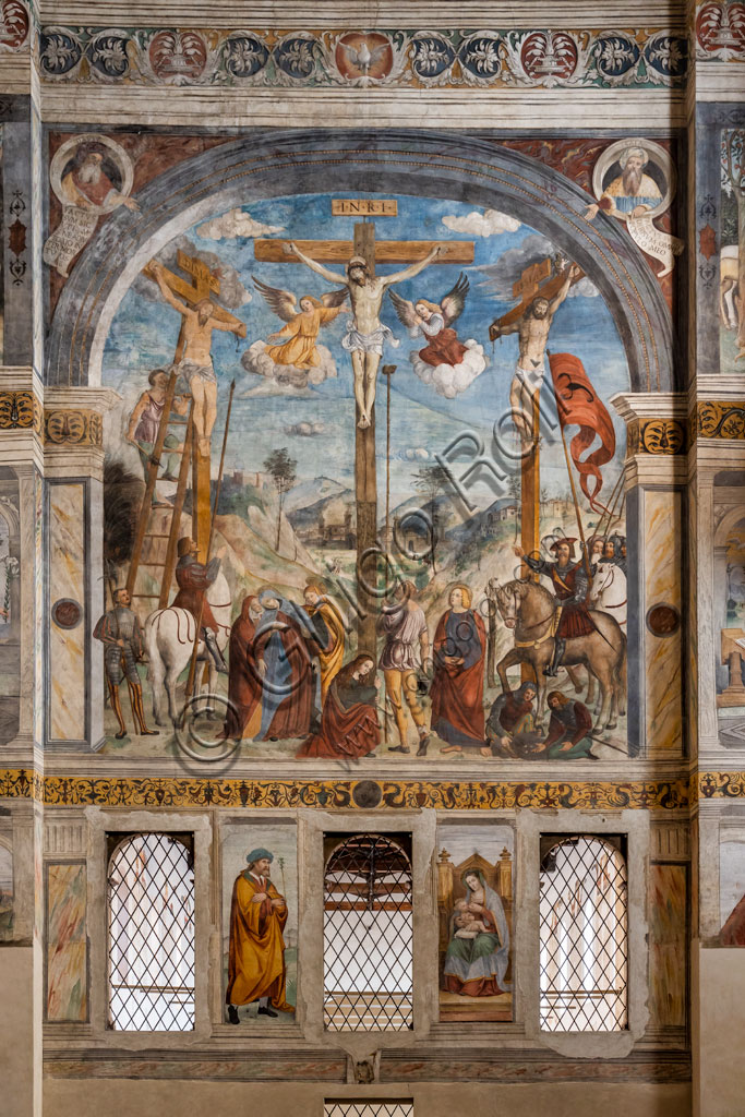 """Brescia, """"Santa Giulia, Museum of the City"""" (Unesco site since 2011), the Nuns' Choir. The frescoes are by Floriano Ferramola and Paolo da Caylina the Younger and date back to the 1520s. The Crucifixion is attributed to Ferramola."""