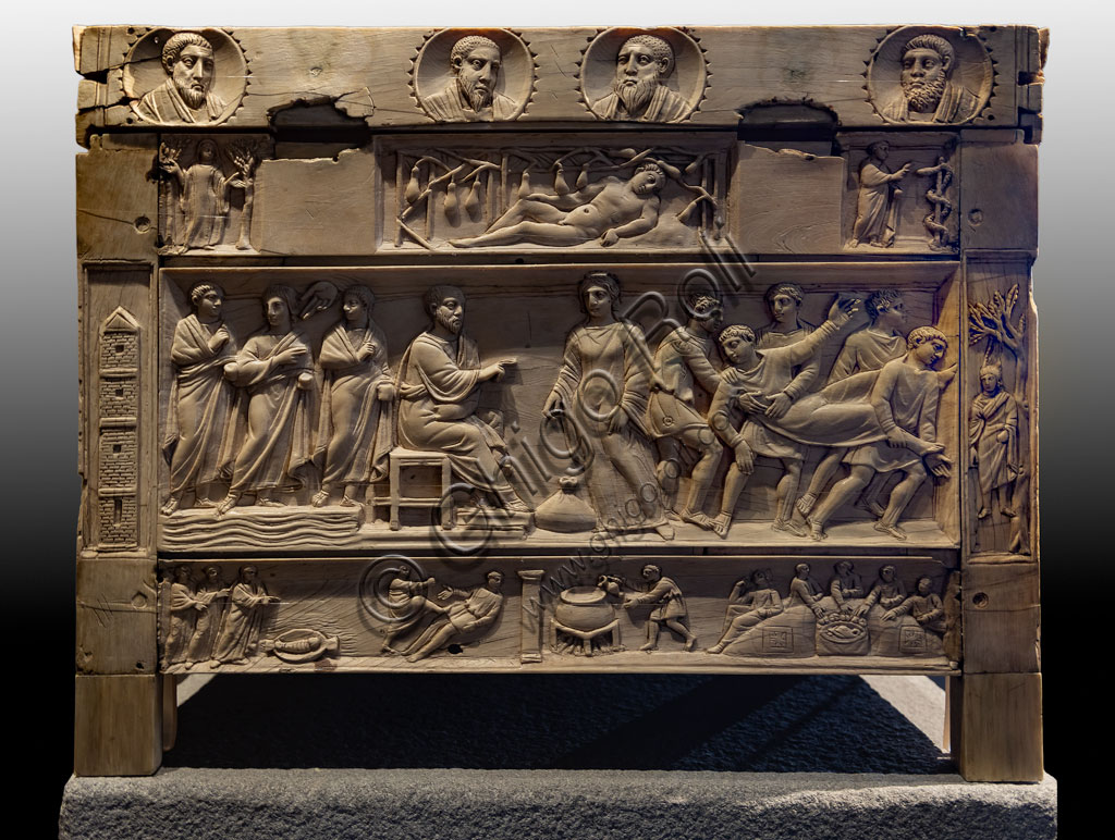 """Brescia, """"Santa Giulia, Museum of the City"""" (Unesco site since 2011).Church of Santa Maria in Solario: lipsanoteca (ivory reliquary casket, IV century. 37 images display characters and episodes of the Bible. It is one of the most important examples of early Christian art."""