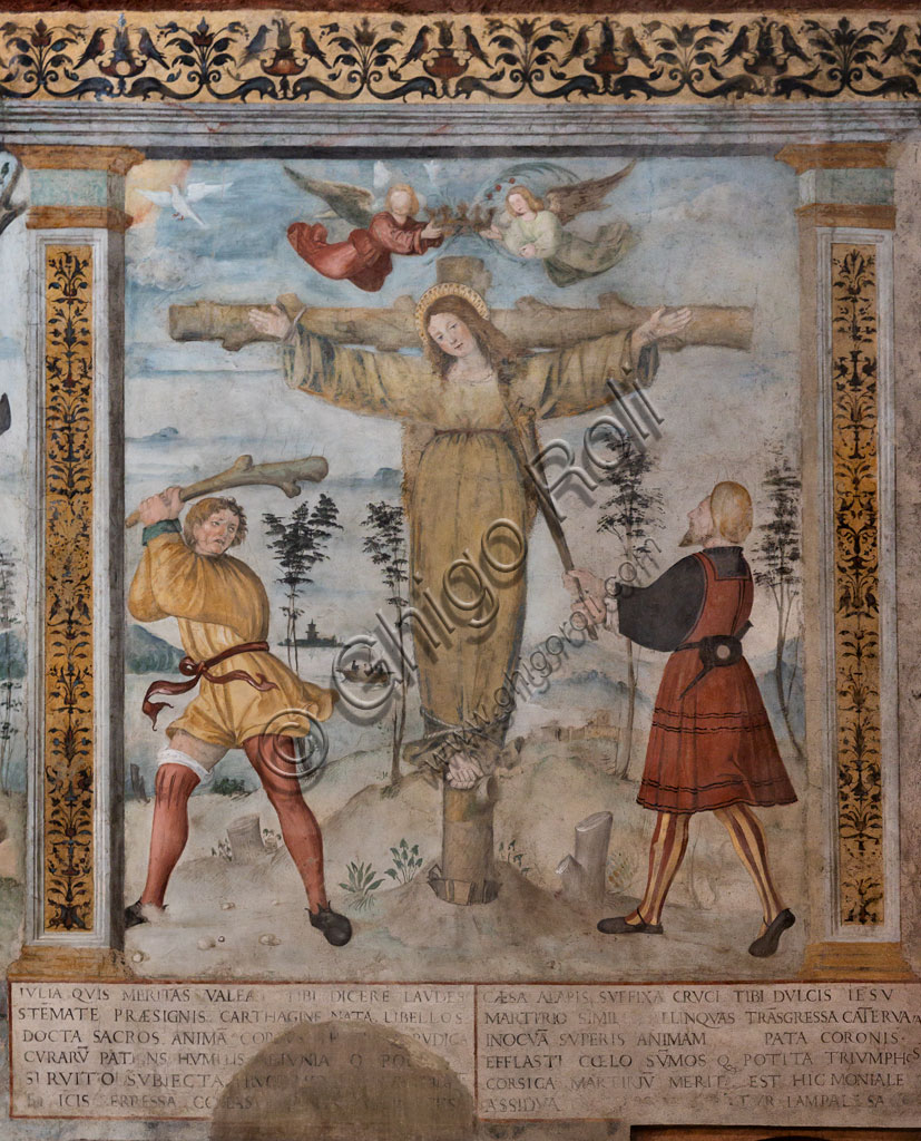 """Brescia, """"Santa Giulia, Museum of the City"""" (Unesco site since 2011), Church of Santa Maria in Solario, frescoes by Floriano Ferramola and workshop (1513 - 1524) about the Stories of S. Giulia and Christ: detail of the Crucifixion of St. Julia (1520)."""