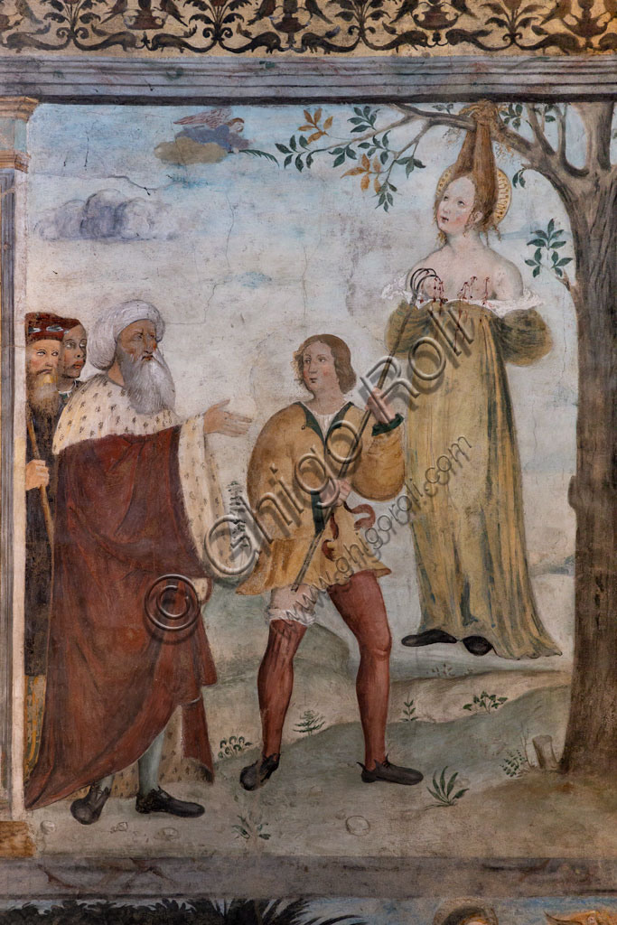 """Brescia, """"Santa Giulia, Museum of the City"""" (Unesco site since 2011), Church of Santa Maria in Solario, frescoes by Floriano Ferramola and workshop (1513 - 1524) about the Stories of S. Giulia and Christ: detail of the Martyrdom of St. Julia (1520)."""