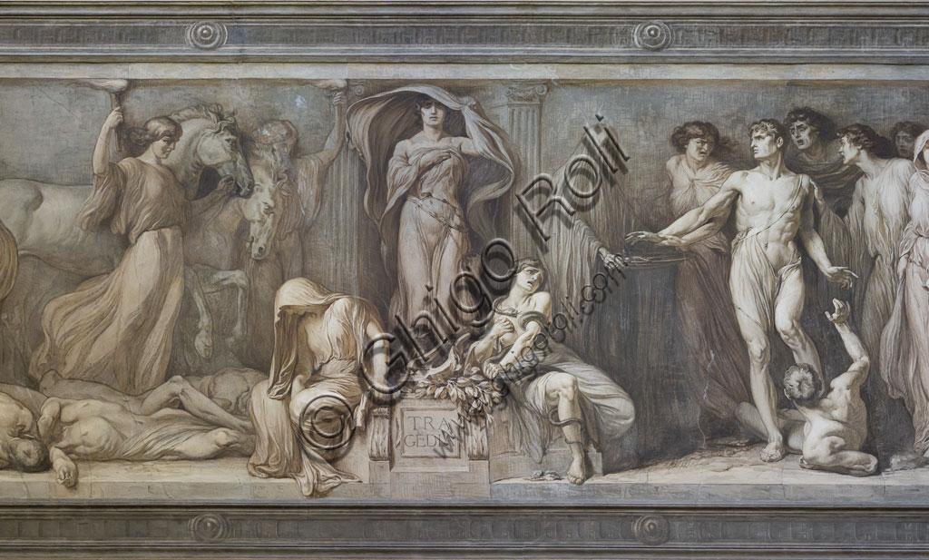 Brescia, Teatro Grande, scalinata dopo l'ingresso: affresco monocromo con allegoria della tragedia, del pittore bresciano Gaetano Cresseri (1914). Particolare.