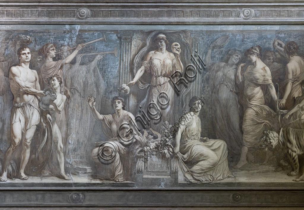 Brescia, Teatro Grande, scalinata dopo l'ingresso: affresco monocromo con allegoria della Commedia, del pittore bresciano Gaetano Cresseri (1914). Particolare.