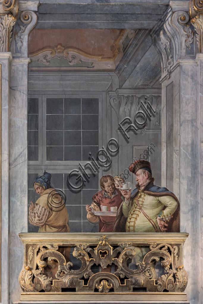 Brescia, Teatro Grande: Sala del Ridotto o Foyer. La sala è forse uno dei più mirabili esempi dello sfarzo architettonico settecentesco applicato ad una struttura di spettacolo. Il decoro ornamentale fu affidato ai pittori veneziani Francesco Battaglioli e Francesco Zugno. Particolare della decorazione.