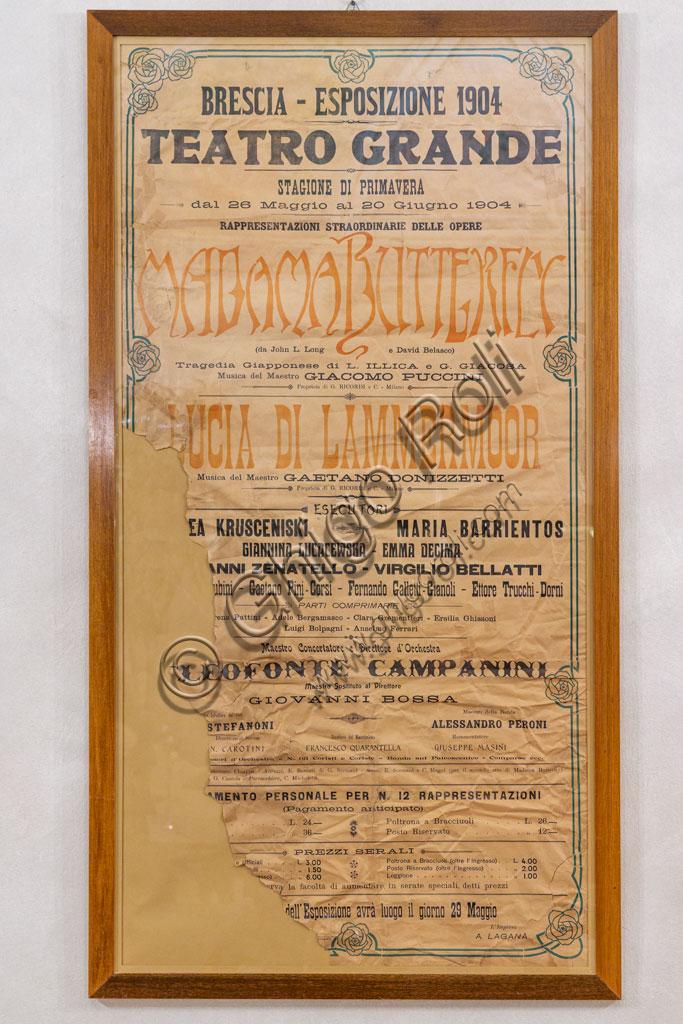 """Brescia, Teatro Grande: manifesto originale per la rappresentazione di """"Madama Butterfly"""" di Giacomo Puccini, nel 1904."""