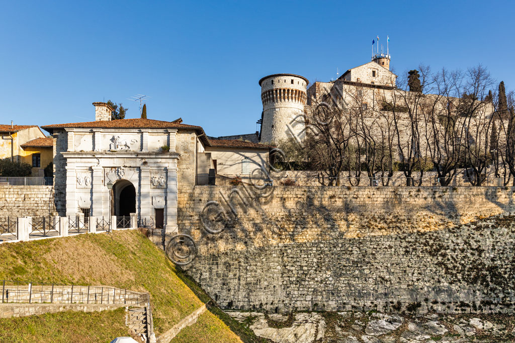 Brescia: the entrace to the Castle, perched on Mount Cidneo.