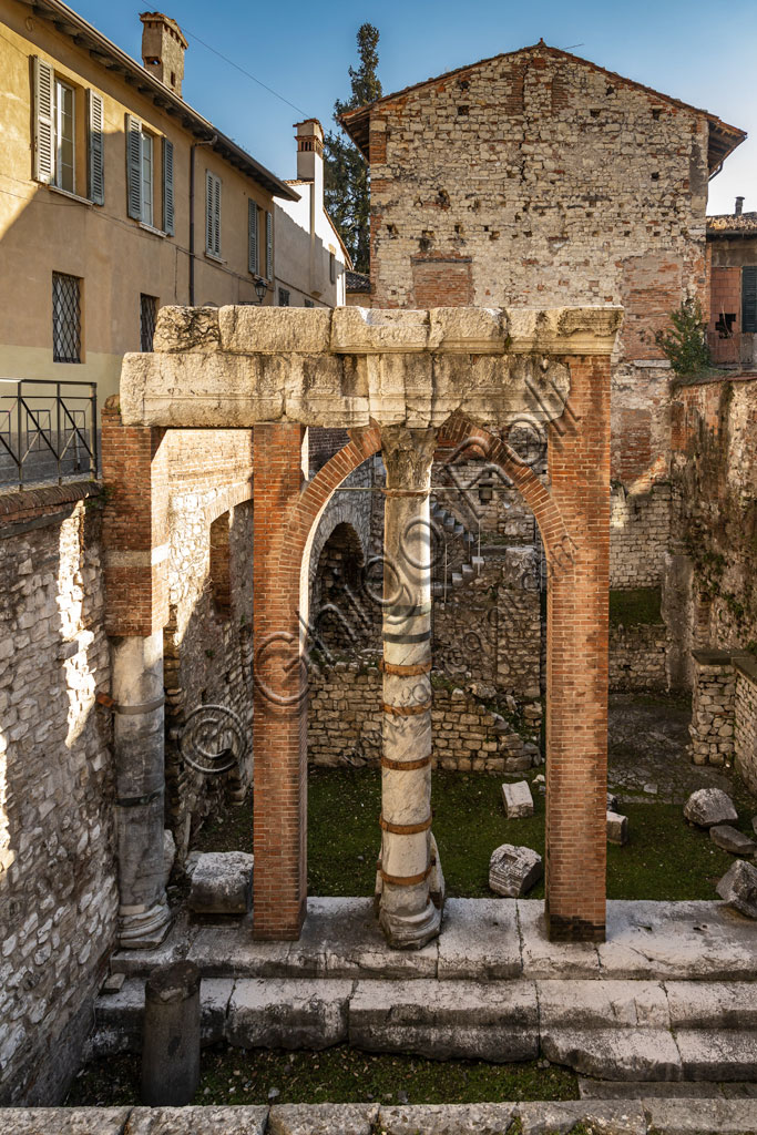 Brescia, the archaeological area of the Capitolium in the ancient Brixia, Unesco heritage since 2011: remains of the basilica, or Roman curia.
