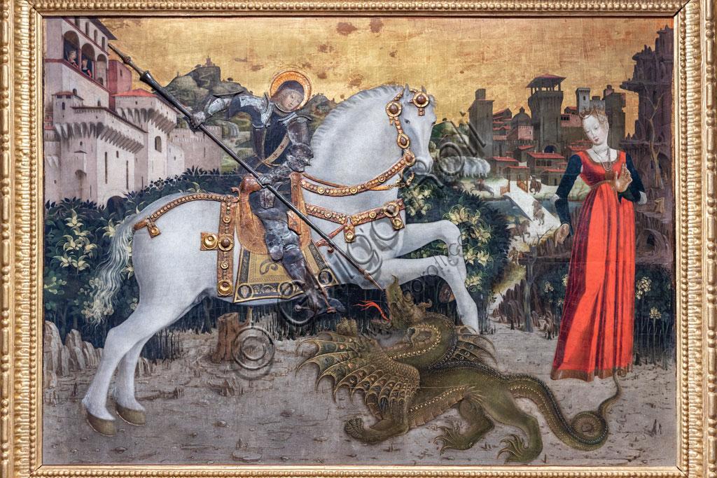 """Brescia, Pinacoteca Tosio Martinengo: """"S. Giorgio e il drago"""",, 1460 -5, di pittore bresciano? Tempera su tavola, oro a guazzo e lamina su argento."""