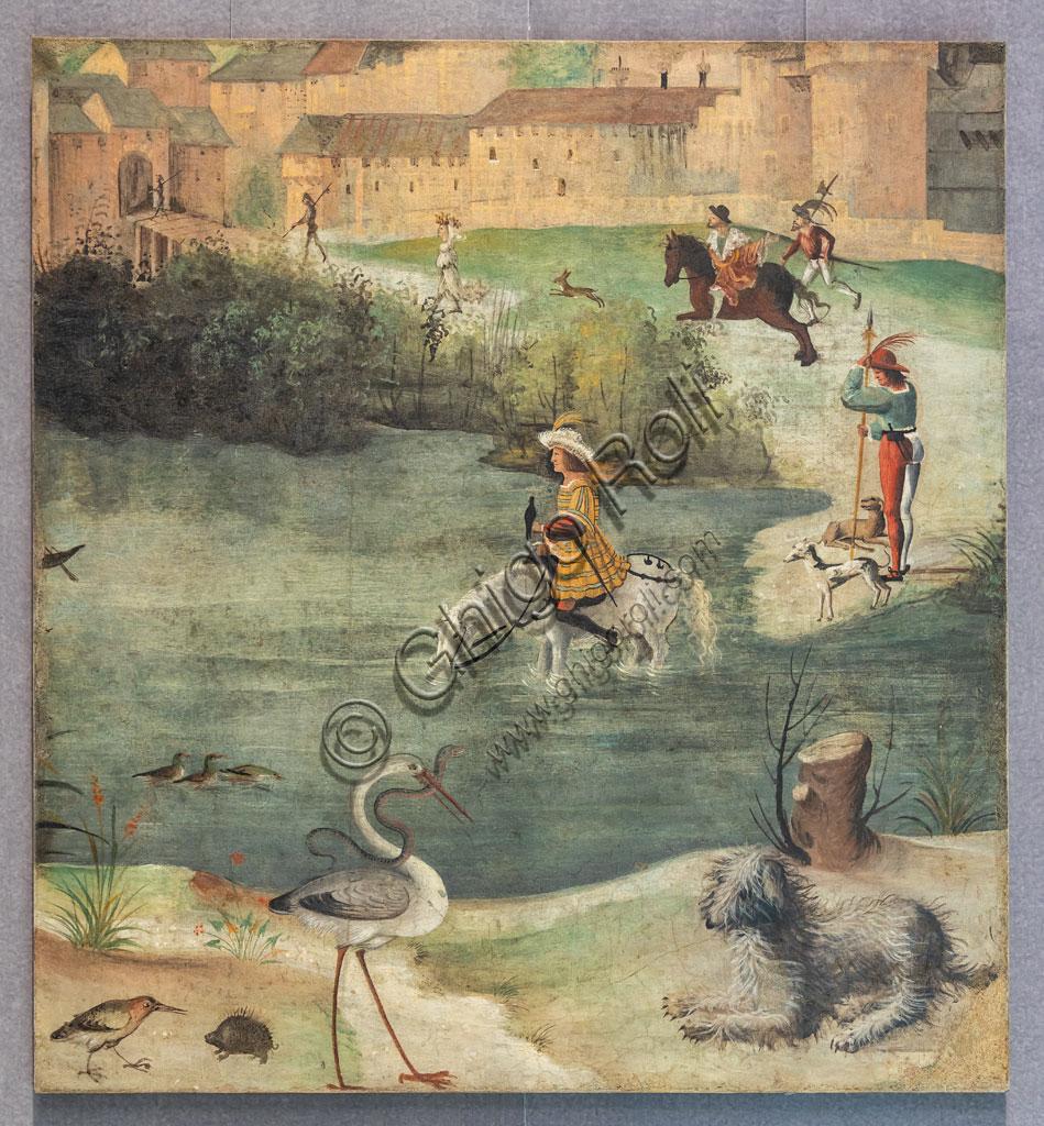 """Brescia, Pinacoteca Tosio Martinengo: """"Caccia con il falcone"""", di Floriano Ferramola, 1517-8. Affresco strappato."""