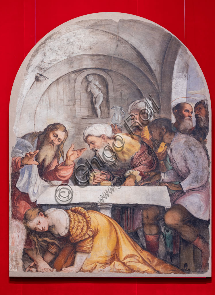 "Brescia, Pinacoteca Tosio Martinengo: ""Feast in the house of Simon the Pharisee"", by Girolamo Romani, known as Romanino, 1532-33.  Fresco trasferred on canvas."