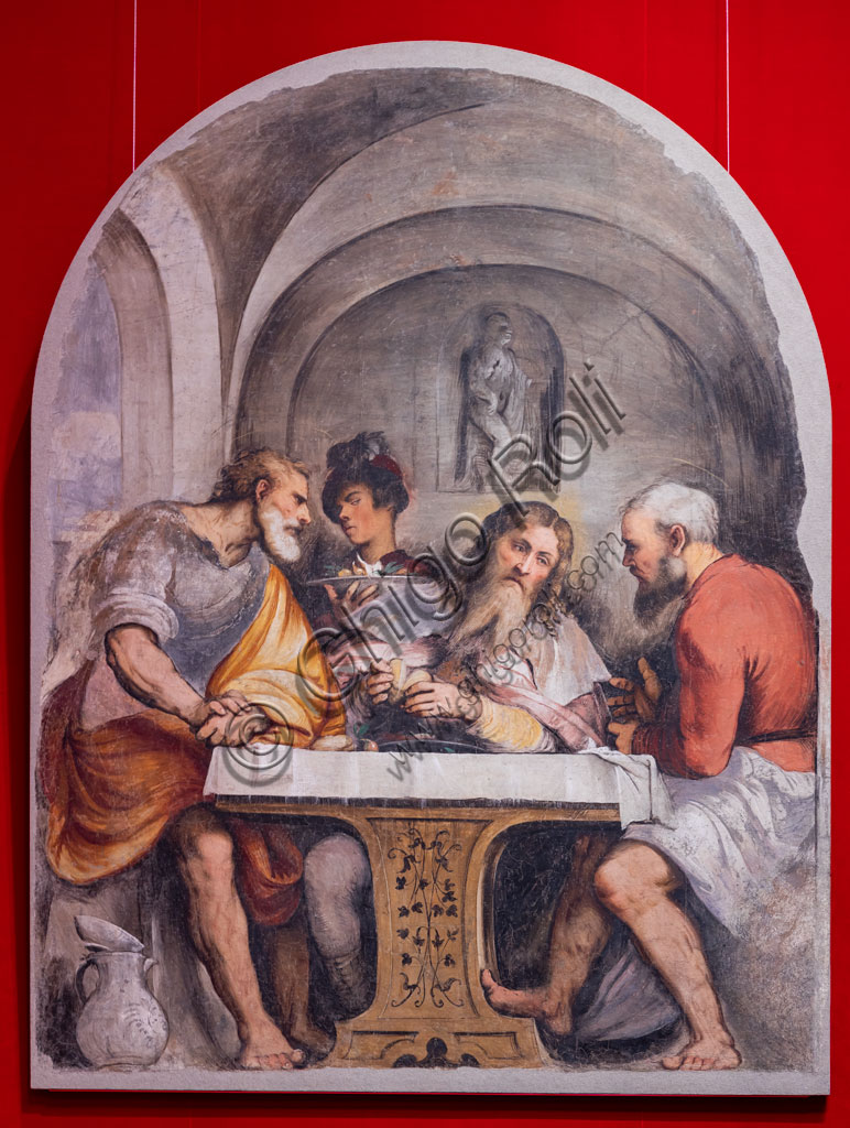 "Brescia, Pinacoteca Tosio Martinengo: ""Supper in Emmaus"", by Girolamo Romani, known as Romanino, 1532-33.  Fresco trasferred on canvas."