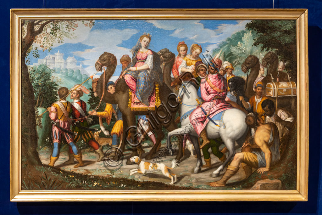 "Brescia, Pinacoteca Tosio Martinengo: ""The journey of the Queen of Sheba"", by Pietro Marone, 1585. Oil on canvas."