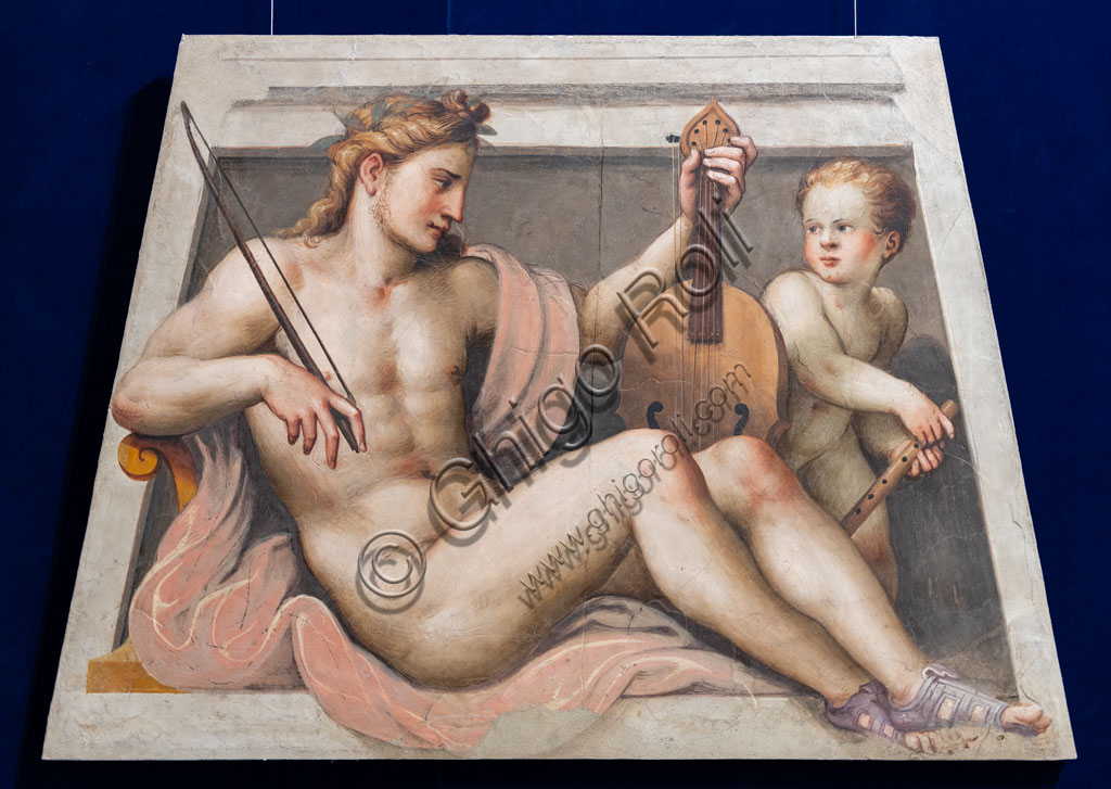 "Brescia, Pinacoteca Tosio Martinengo: ""Apollo with avLyre and a Cherub"", by Lattanzio Gambara, 1557. Fresco."