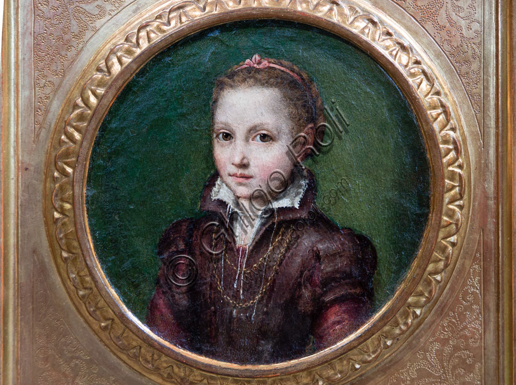 "Brescia, Pinacoteca Tosio Martinengo: ""Portrait of Europa Anguissola"", by Lucia Anguissola, 1556 - 1558. Oil on panel."