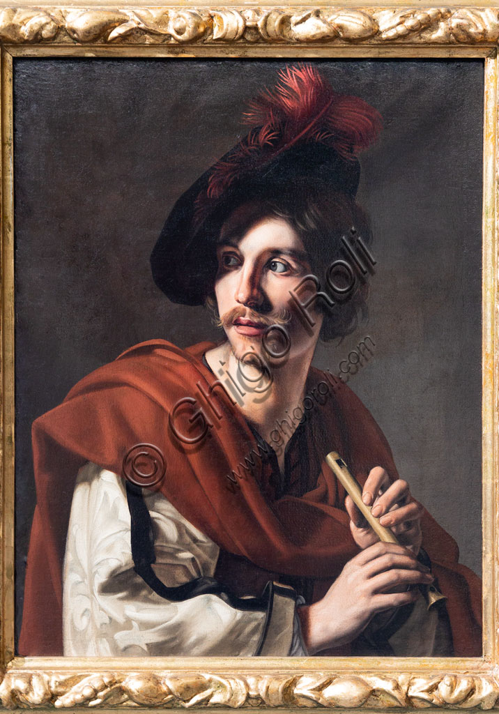 "Brescia, Pinacoteca Tosio Martinengo: ""Flute Player"", by Nicolas Tournier, 1626, Oil on canvas."