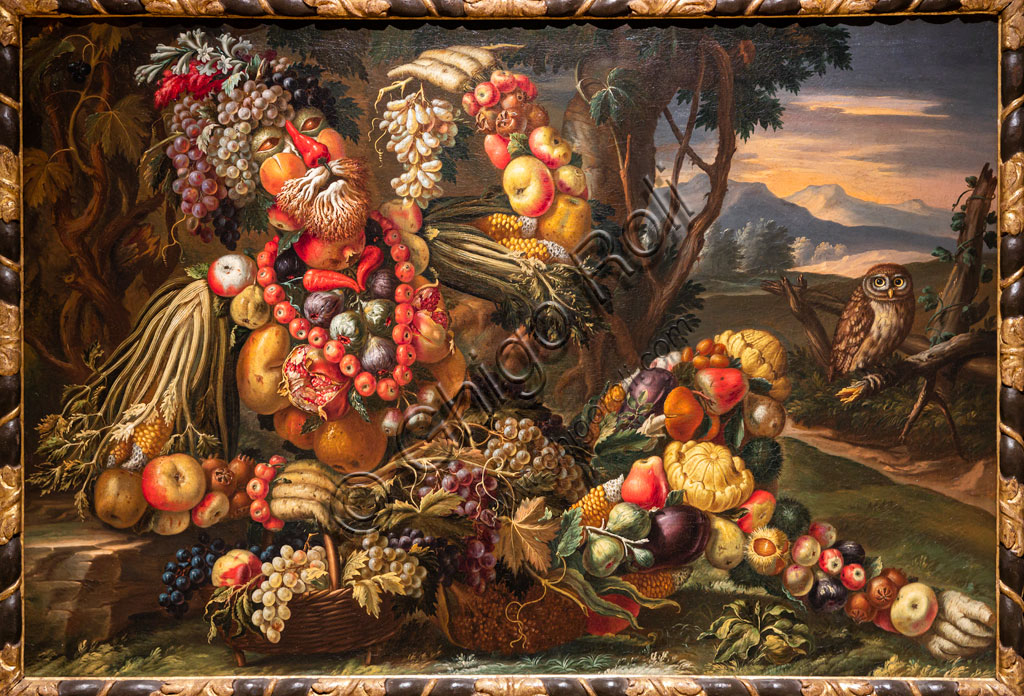 "Brescia, Pinacoteca Tosio Martinengo: ""Autumn"", oil on canvas by Antonio Rasio inspired by the Metamorphoses by Ovid. The fanciful composition of seasonal fruits and flowers is as seen in paintings by Arcimboldo."