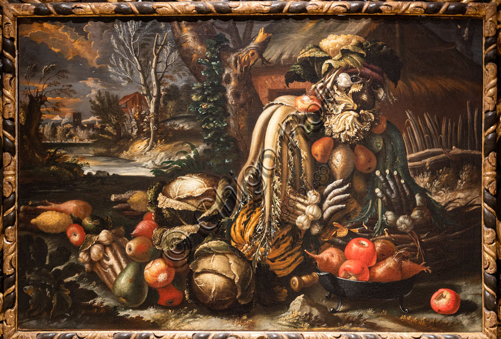 "Brescia, Pinacoteca Tosio Martinengo: ""Winter"", oil on canvas by Antonio Rasio inspired by the Metamorphoses by Ovid. The fanciful composition of seasonal fruits and flowers is as seen in paintings by Arcimboldo."