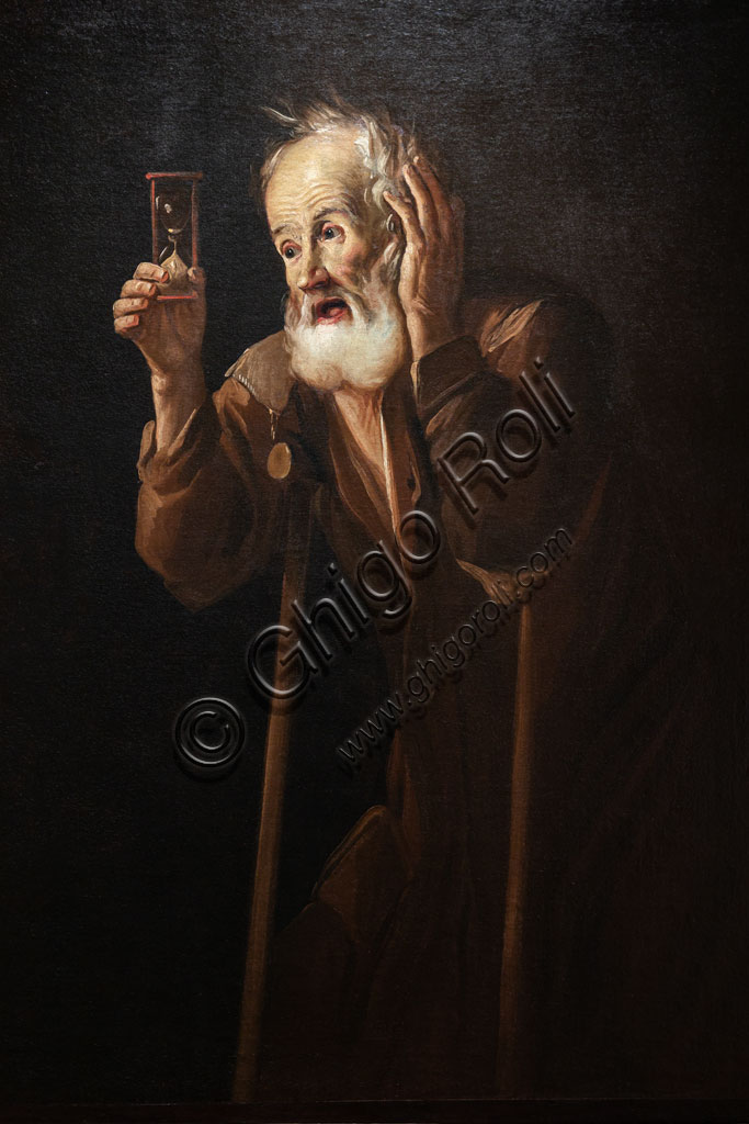 "Brescia, Pinacoteca Tosio Martinengo: ""Old Man holding a hourglass"", oil on canvas by Antonio Cifrondi, 1717."