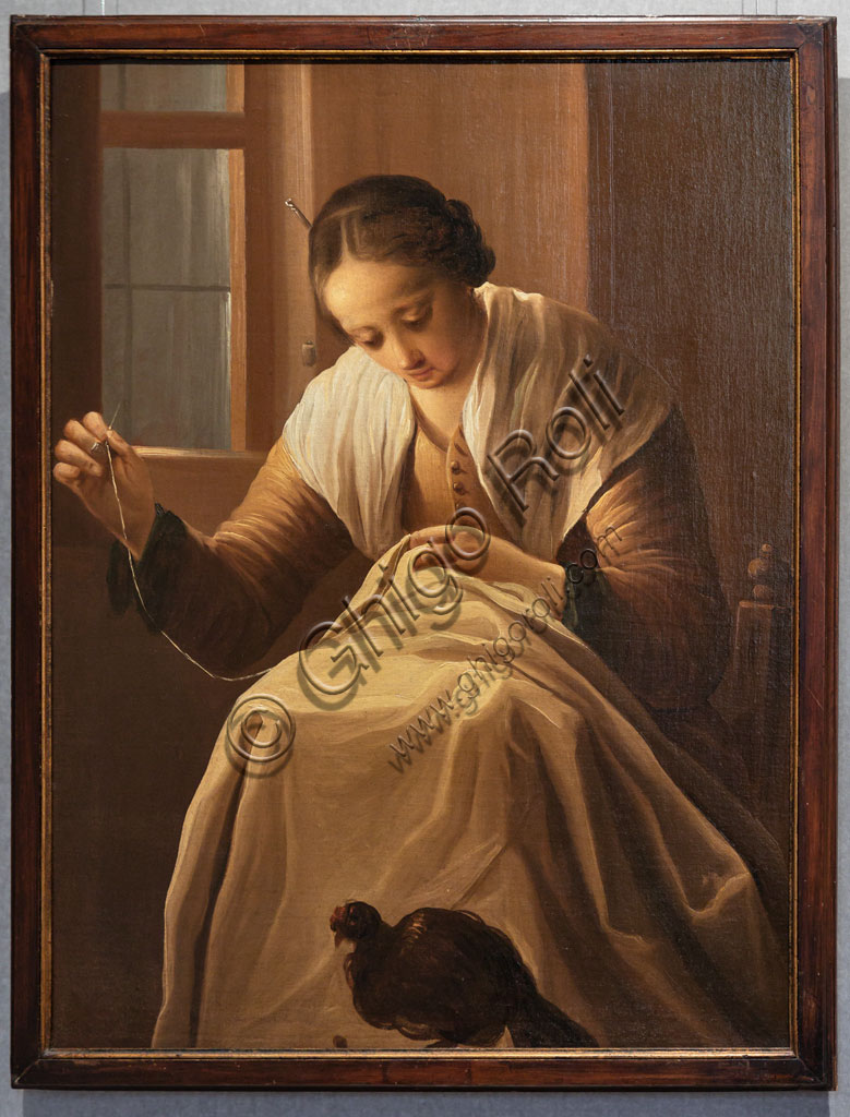 "Brescia, Pinacoteca Tosio Martinengo: ""Sewing Girl"", oil on canvas by Antonio Cifrondi, 1720-5."