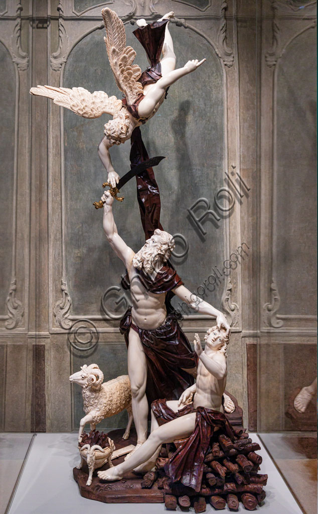 "Brescia, Pinacoteca Tosio Martinengo: """"Abraham and Isaac"", a replica of a sculptural group in ivory and wood by Simon Troger, made in 1738 for Carlo Emanuele III of Savoy, today preserved in Palazzo Madama in Turin."
