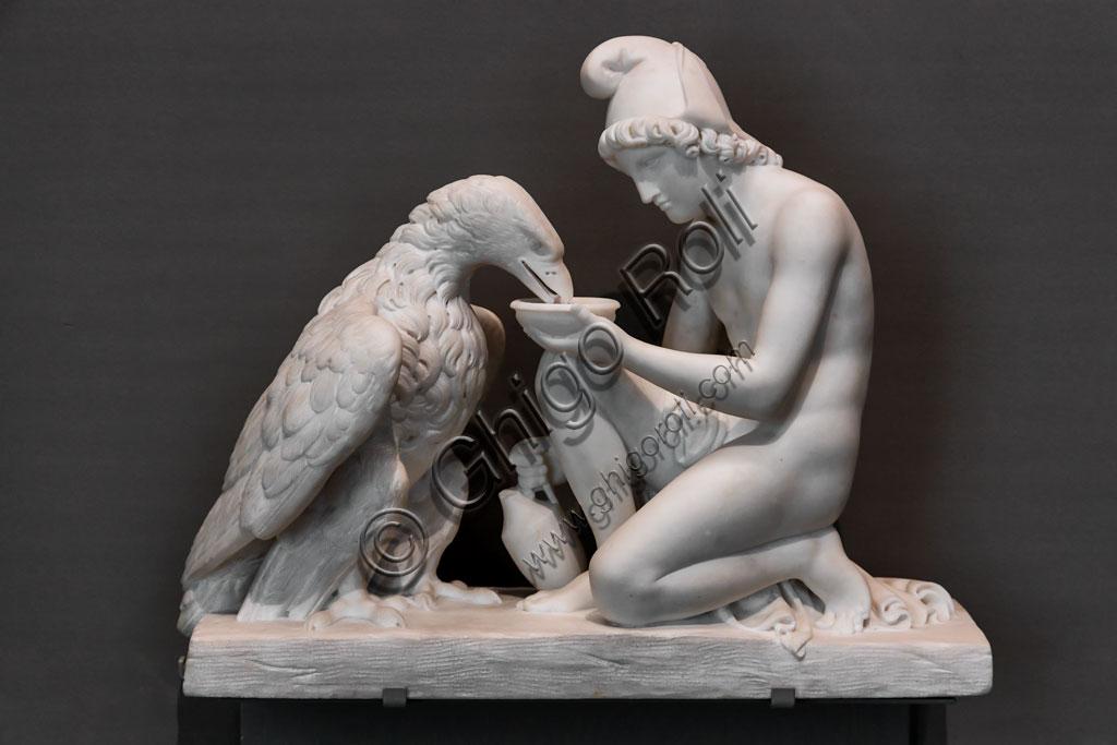 """Brescia, Pinacoteca Tosio Martinengo: """"Ganimede con l'aquila di Giove"""", di Bertel Thorvaldsen, 1814 - 5. Marmo."""