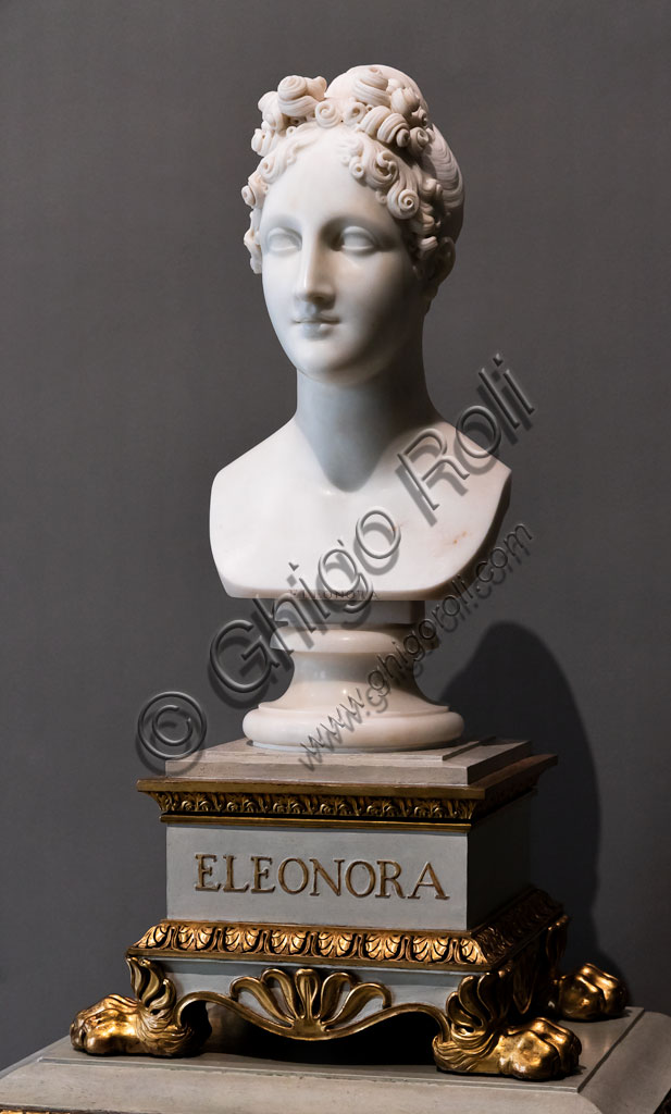 "Brescia, Pinacoteca Tosio Martinengo: ""Eleonora d'Este "", marble bust by Antonio Canova, 1819. The princess, cho was loved by Torquato Tasso, became the poet's muse."