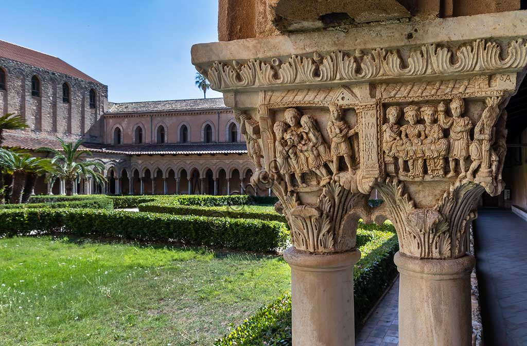 "Monreale, Duomo, the cloister of the Benedectine monastery (XII century):  view of the cloister and, in the foreground, the Eastern side of capital N21 (""The Capture and Blinding of Samson"")."