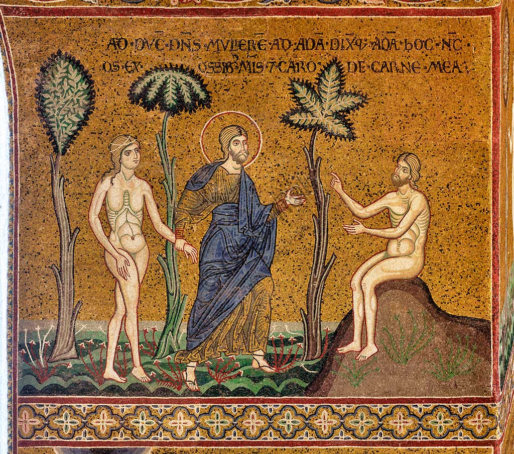 "Monreale, Duomo: ""God introduces Eve to Adam"", byzantine mosaic, XII - XIII sec, on the counterfacade.Latin inscription: ""ADDUCIT DOMINUS MULIEREM AD ADAM DIXITQUE ADAM HOC ENIM OS EX OSSIBUS MEIS ET CARO DE CARNE MEA""."
