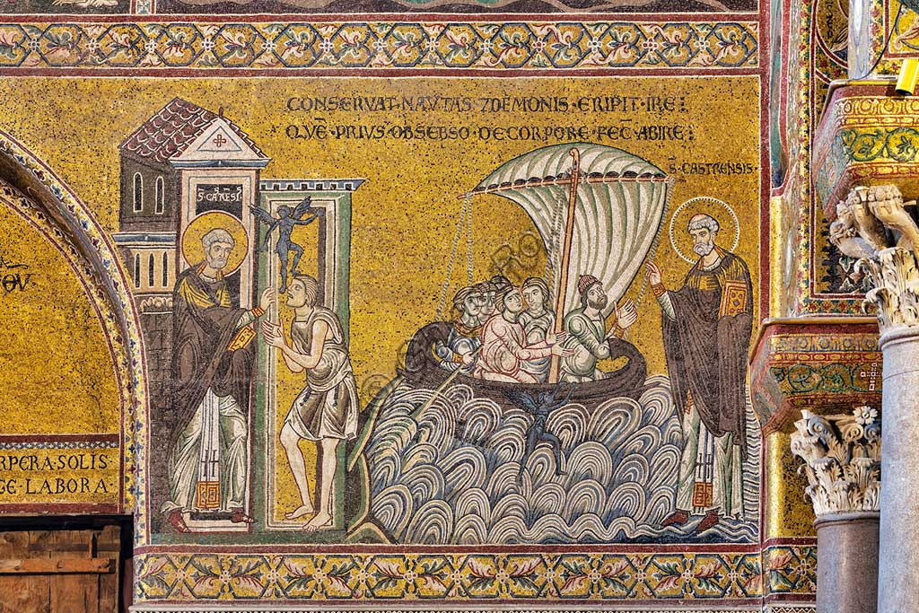 "Monreale, Duomo, Episodes from the life of San Castrense, patron of Monreale: ""Liberation of the possessed and rescue of stormy sailors "", Byzantine mosaic, XII - XIII century, on the counter-façade.Latin inscription:"" CONSERVAT NAUTAS A DEMONIS ERIPIT IRE - QUAE PRIUS OBSEBSO DE CORPORE FECIT ABIRE ""."