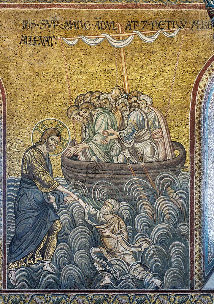 "Monreale, Duomo: ""Jesus rescueing St. Peter from the waves "", Byzantine mosaic, Episodes from the life of Christ, XII - XIII centuries. Latin inscription:""IESUS SUPER MARE AMBULAT ET PETRUM MERGENS ALLEVAT"" ."