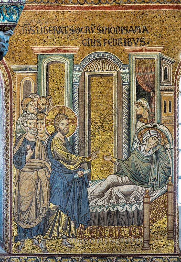 "Monreale, Duomo: ""Jesus healing Simon's mother in law from fever"", Byzantine mosaic, Episodes from the life of Christ, XII - XIII centuries. Latin inscription:""IESUS LIBERAT SOCRUM SIMONIS A MAGNIS FEBRIBUS"" ."