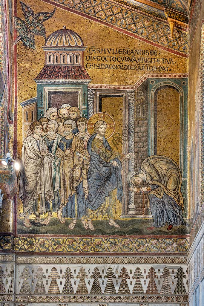 "Monreale, Duomo: ""Jesus healing the hunchbacked woman from her hump"", Byzantine mosaic, Episodes from the life of Christ, XII - XIII centuries. Latin inscription:""IESUS MULIERUM ANNIS DECEM ET OCTO CURVAM ERIGIT ET ARCHI SYNAGOGUM INDIGNATAE INCREPAT"" ."