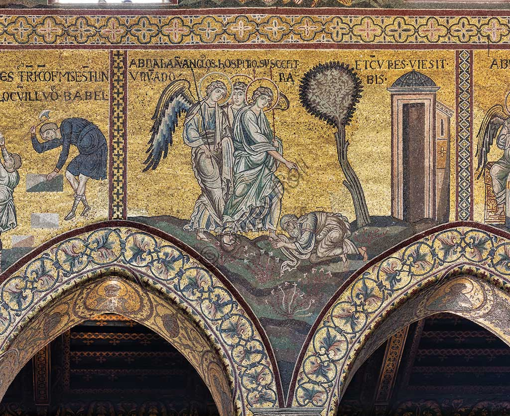 "Monreale, Duomo: ""Abraham prostrates himself before the three angels"", Byzantine mosaic, Old Testament cycle - Abraham, XII - XIII century.Latin inscription: ""ABRAHAM ANGELOS HOSPITIO SUSCEPIT ET CUM TRES VIDERET UNUM ADORAVIT""."