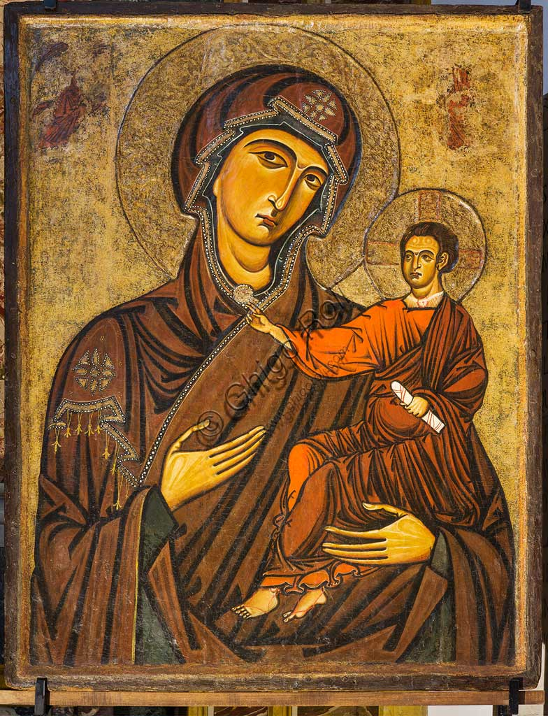 "Monreale Cathedral: ""Madonna Odigitria"" (Virgin and Child), also called ""Madonna Bruna"", by an unknown Southern painter; mid-13th century."