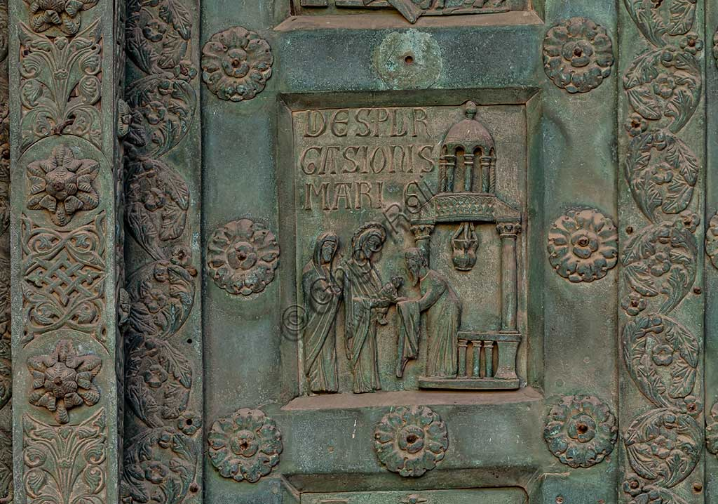 """Monreale Cathedral, the gate by Bonanno Pisano (1185-6): bronze tile depicting """"Presentation of Jesus at the Temple"""" (scene of the New Testament).The gate is signed """"Bonanno civis pisanus"""". It depicts five scenes of the Old Testament at the bottom, starting with Adam and Eve, and five scenes of the New Testament at the top, ending in """"Christ and Mary in the glory of Paradise""""."""
