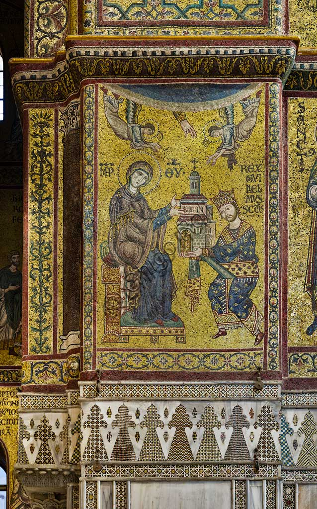 Monreale Cathedral, transept: the Byzantine mosaic which depicts King William II offering the Cathedral to the Virgin Mary. The mosaics of the Cathedral were made between the twelfth and mid-thirteenth century by partly local and partly Venetian workers, trained at the Byzantine school.