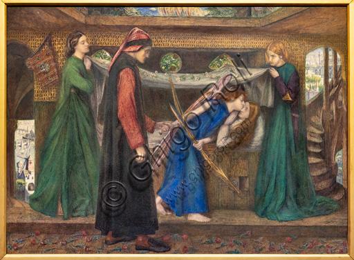 """""""Il sogno di Dante alla morte di Beatrice"""", (1856)  di Dante Gabriel Rossetti (1828-1882); acquerello su carta."""