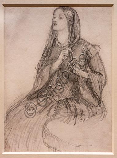 """Elizabeth Siddal si fa una treccia"", (1855)  di Dante Gabriel Rossetti (1828-1882); grafite su carta."